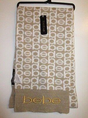 BEBE NWT Logo Scarf Wrap By Berkshire Fashions Metallic Gold White Shiny CHIC