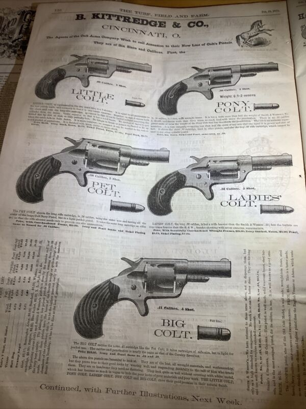 1875 NEWSPAPER~ With BEST COLT HANDGUNS FULL PAGE AD! 100% ORIGINAL