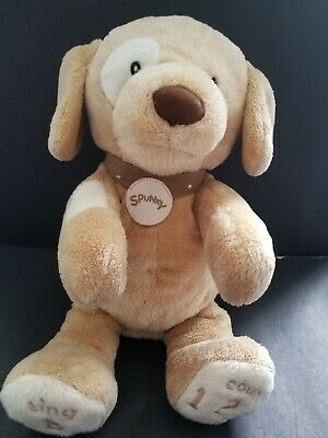 Spunky Baby Gund Tan Dog Sings Talks ABCs 123s WORKS plush stuffed animal