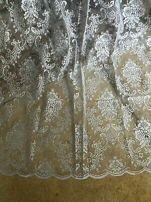 """LAST PAIR  HUGE 56""""X90"""" NEW PALE GREY FINE FRENCH STYLE LACE/NET CURTAINS"""