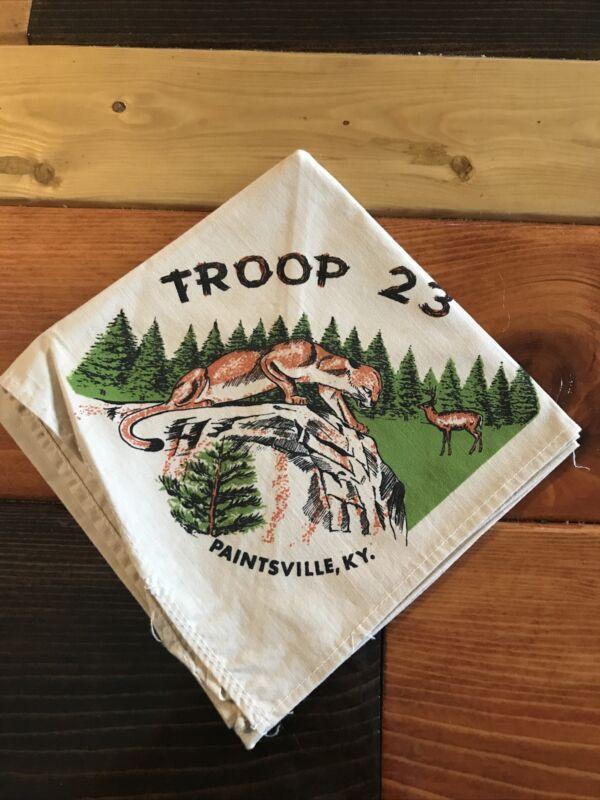 Vintage Official BSA Boy Scout Neckerchief TROOP 23 Paintsville Kentucky