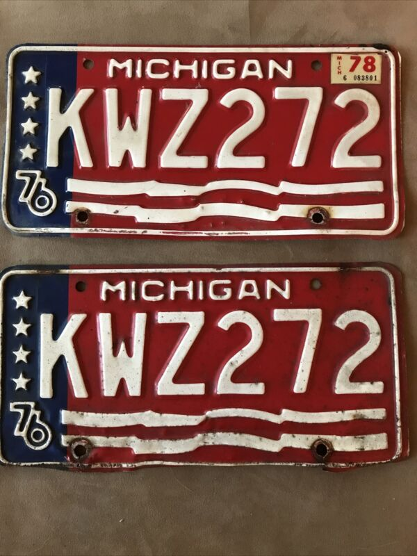 1976 Michigan License Plates, Pair, #KWZ 272