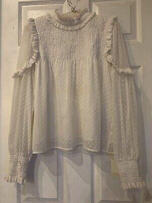 ZARA Trafaluc Collection Long Sleeve Ruffle Sheer Lace Top Size M