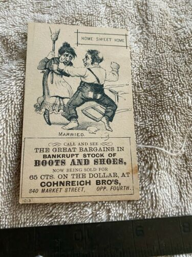 Cohnreich Brothers Trade Card Bankrupt Stock Shoes and Boots