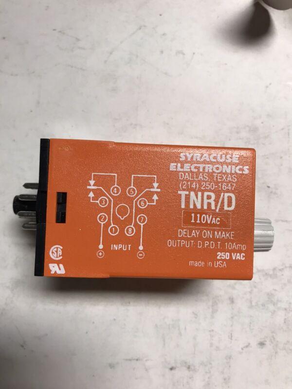 Syracuse Electronics Time Delay Relay TNR/D 110vac Delay On Make TNRD 00303B Z10