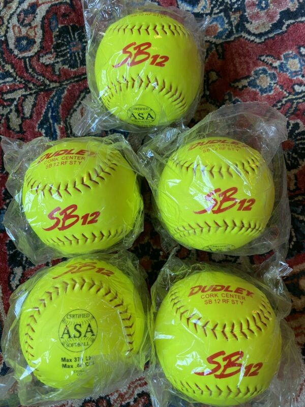 "Lot Of 5 Brand New Dudley 12"" SB12 Softballs Sealed In Bags Yellow ASA Certified"