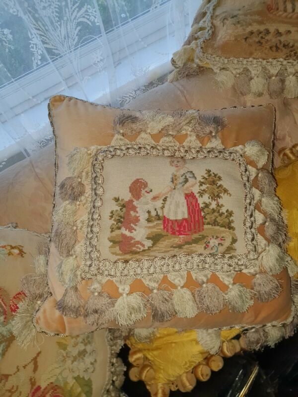 antique needlepoint C1860s cushion / pillow of a girl with her dog