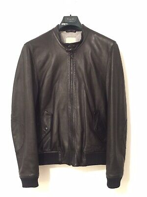 [MADE IN ITALY] Band Of Outsiders Calfskin Leather Bomber Jacket Black Size 1 40
