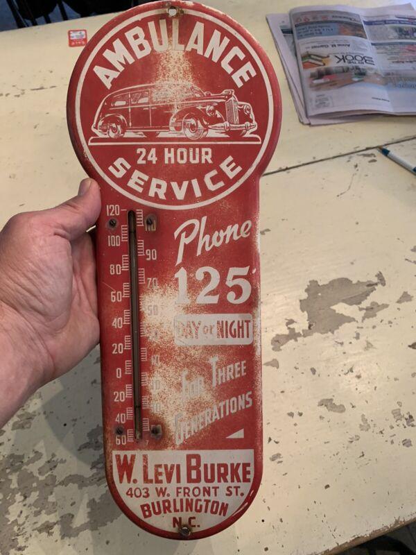 1940's Vintage Ambulance 24 Hour Service Advertising Thermometer Burlington, NC