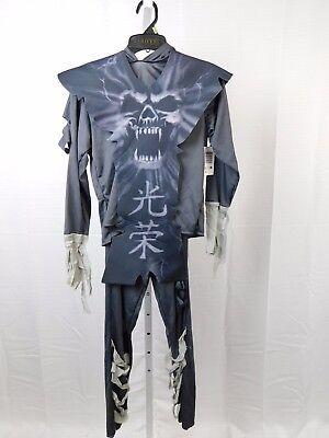 Zombie Ninja Costumes (Gray Zombie Ninja Boy's Skull Print Halloween Costume Top Pants Tunic Large)