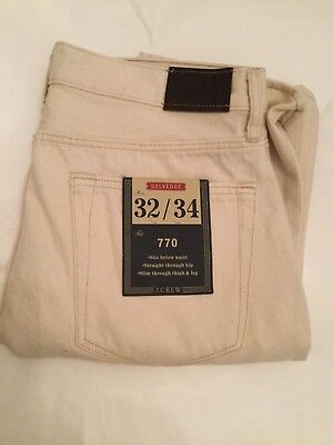 NEW $198 J. Crew 770 Japanese Selvedge Jeans 100% Cotton Wheat w/Red - 32 x 34