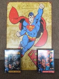 Superman Superman tin sign w/ two decks of playing cards