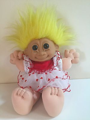 Vintage Russ Berrie Troll Doll, Soft Body, Yellow Hair, Red and White Dress RARE