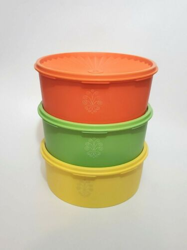 Vintage Tupperware Canisters 1204 Yellow Orange & Green Stackable Servalier 3