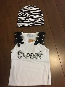 Girls tank top and hat (NEW, never worn)