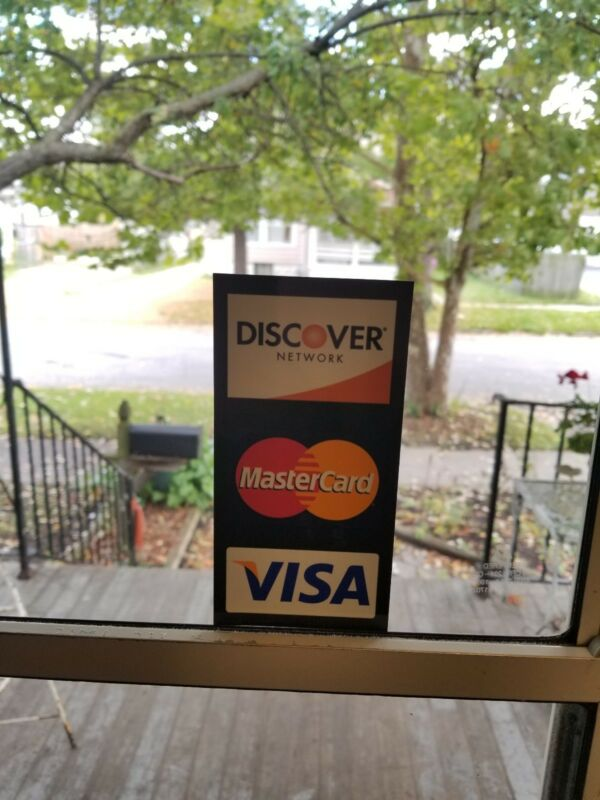 CREDIT CARD LOGO DECAL STICKER -DOUBLE-SIDED VISA/MASTERCARD/DISCOVER