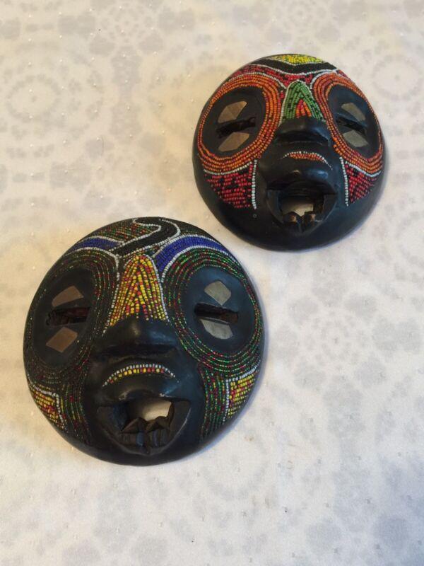 2 BALUBA CEREMONIAL TRIBAL MASKS Youth & Strength Wall Art Wood Beads Made GHANA