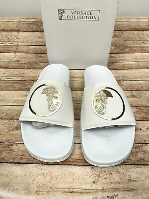 Versace Collection Men's Medusa Slides Pool Sandals White EU 45 US 12 NEW $350