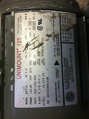 Us Electrical Motors Unimount 125 Frame182jm Volt208-230-460 3hp