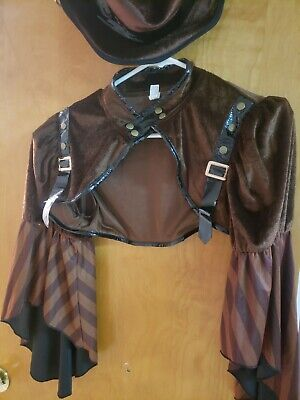Steampunk Outfit Brown jacket and hat Gothic ladies large 10-12 cos play
