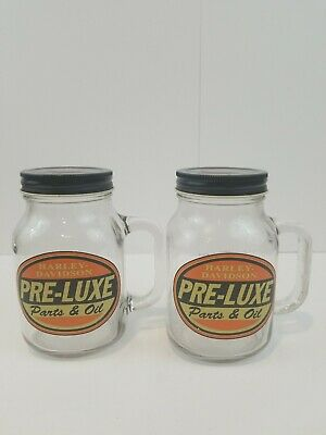 Vintage Harley-Davidson Two 20oz Glass Mason Jars Pre Luxe With Covers ()