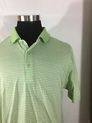 mens PETER MILLAR Old MacDonald white/green striped polo shirt sz xl