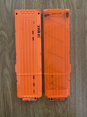 Nerf Lot of 2 Orange & Clear 18 Round Max Dart Ammo Clip Magazine Replacement