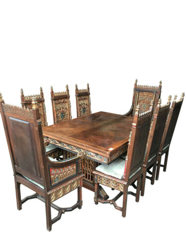 Sensational Antique French Gothic Dining Set with Painted Accents, Oak