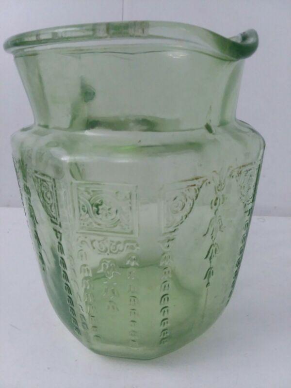 Vintage Green Depression Uranium Princess Pattern Glass Water Pitcher
