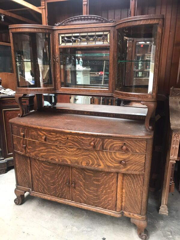 Great Oak Curio Top Leaded Glass Original Finish Sideboard Buffet Silver Server