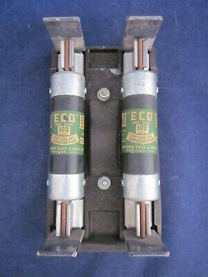 Electric Cutoff Fuse Holder With 2 Economy Fuse Mfg. 100 Amp Fuse Vintage 1960