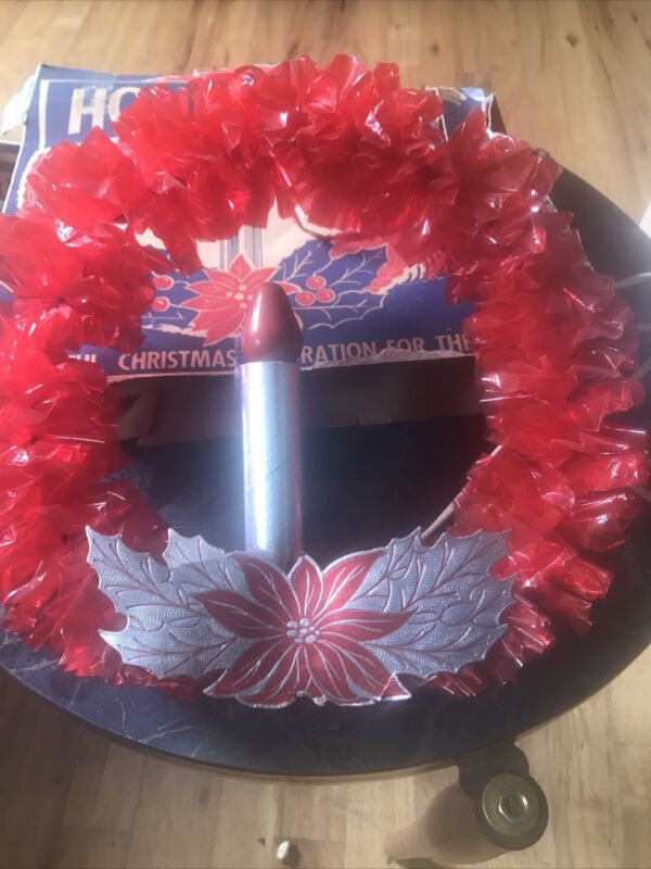 2 Vintage 1950s Holiday Electric Cellophane Christmas Wreath With Original Boxes