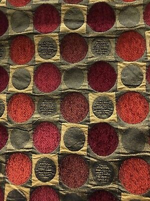 COPPER RED WINE GOLD GEOMETRIC CHENILLE UPHOLSTERY BROCADE FABRIC (54 in.) BTY](Red Brocade)