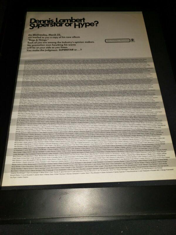 Dennis Lambert Bags & Things Rare Original Promo Poster Ad Framed!