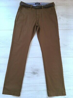SUPERDRY MEN'S BROWN BELTED CHINO TROUSERS SIZE L WAIST 34 LEG 30 W34 L31
