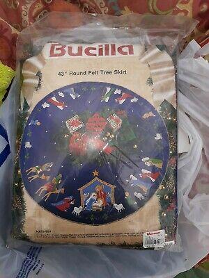 "Bucilla ""NATIVITY"" Felt Holy Christmas Tree Skirt Kit RARE Sterilized BLUE VNTG."