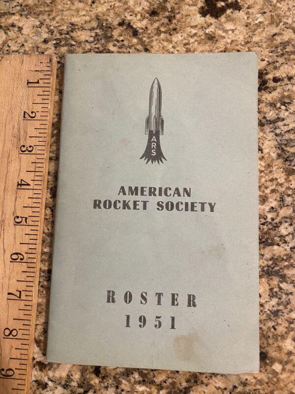 Vintage 1951 AMERICAN ROCKET SOCIETY ROSTER