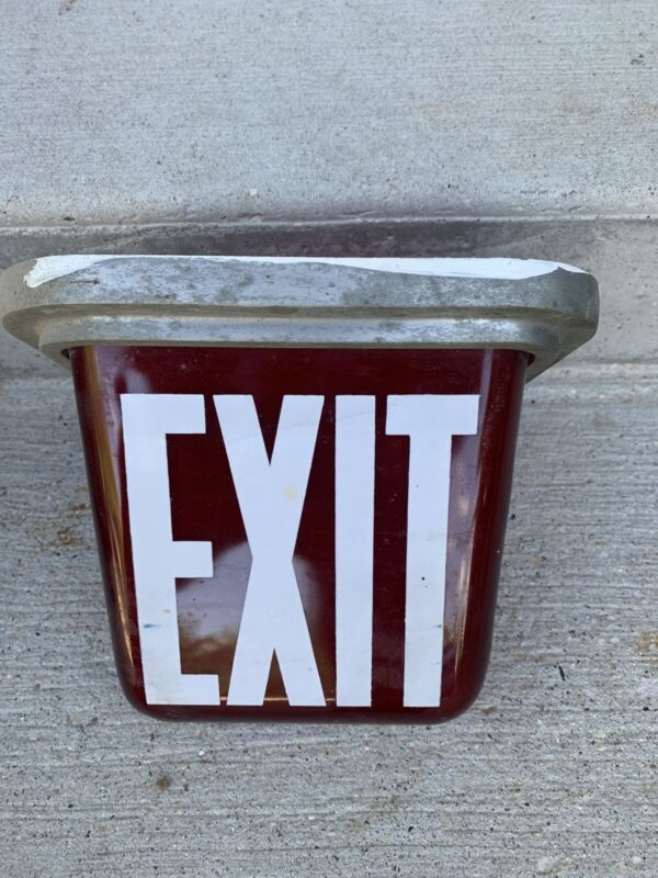 Vintage Exit Light Theatre Style Ruby Red
