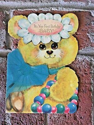 """X-LRG Vintage 1960's 1st Birthday Card Billie The Bear Super Cute! 9"""" Tall"""