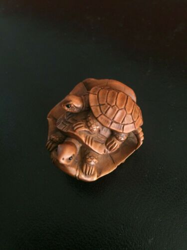 19th Century Japanese Carved Turtles Wood Netsuke.  Signed Masatsugu.