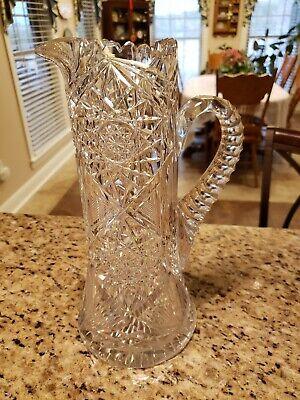American brilliant cut glass crystal sawtooth  pitcher