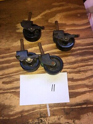 Set Of Vintage Casters--wheels Wood Metal Old Rubber