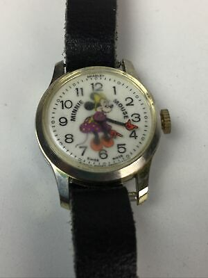 Vintage Walt Disney Production Minnie Mouse Bradley Swiss Made Watch for Parts