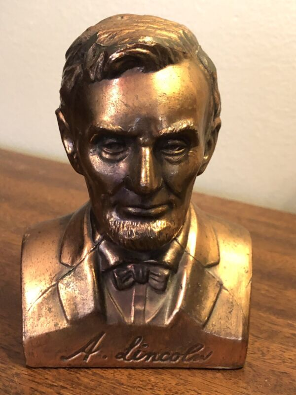 """VINTAGE ABRAHAM LINCOLN 5.5"""" BRASS BRONZE BUST BANK W/ STOPPER NICE RARE"""