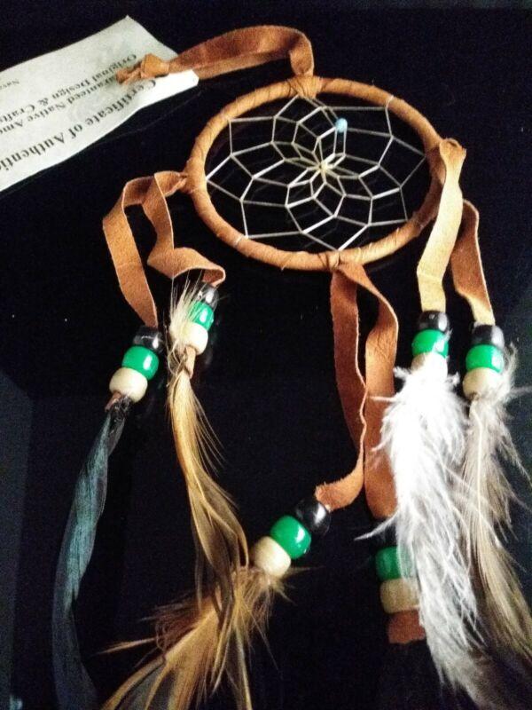 "Authentic Native American Navajo Buckskin Dream Catcher 3 "" Mae Stone  Deep Tan"