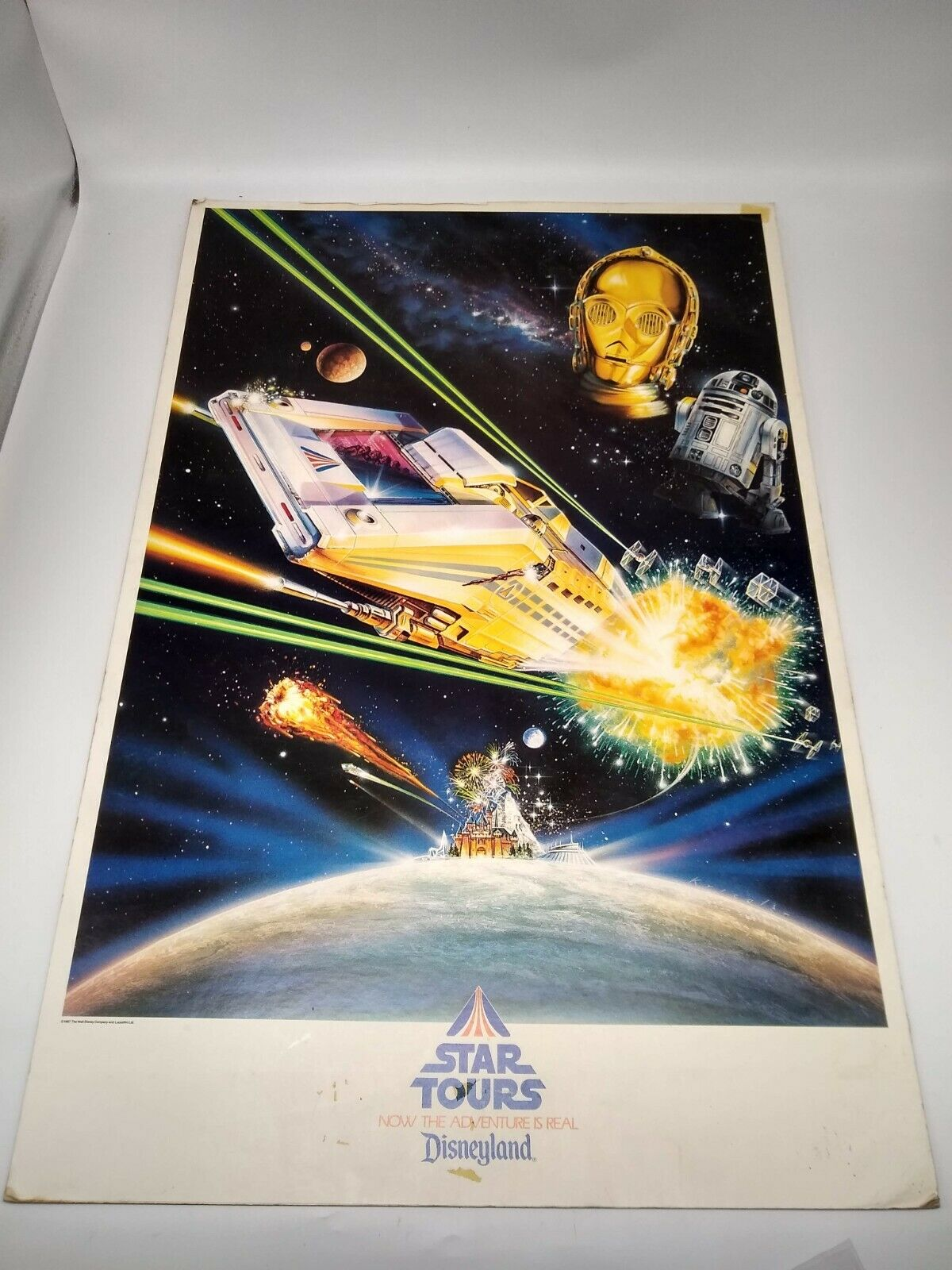 Vintage Star Wars Disneyland Star Tours Sign with C3PO and R2D2 - 30