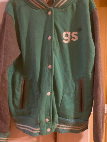 green Girl Scouts hoodie varsity jacket Medium snap closureVGUC