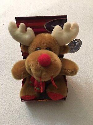 "Christmas Reindeer With  Red Nose Plush 4"" Tall New - Red Nose Reindeer Plush"