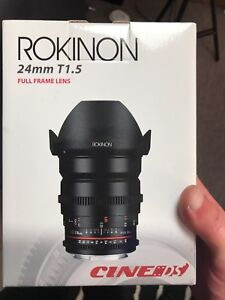 24mm rokinon cine lense t1.5 f1.4 with canon ef mount