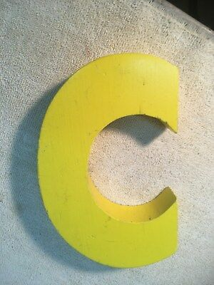 Letter C Big Vtg Wood Block Type Italic Font 8in X 5in X 1.5in Yellow